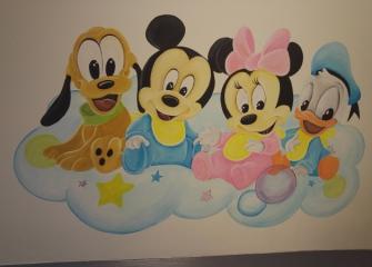 Muurschildering Disney babys