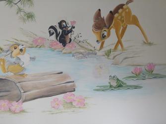 Muurschildering-Bambi-aan-vijver-2