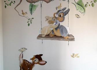 Muurschildering-Bambi
