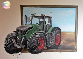 Muurschildering-Tractor