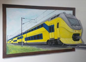 Muurschildering-Trein