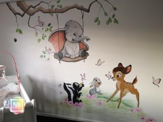 Muurschildering-bambie