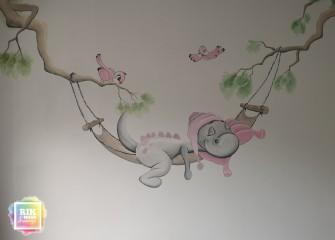 Muurschildering-dirk-draakje