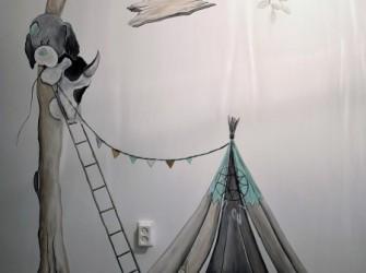 Muurschildering-indianen-tent-2