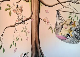 Muurschildering-kinderkamer-dieren-1