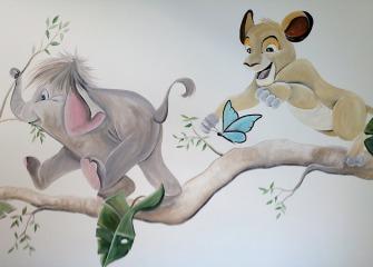 Muurschildering-olifantje-lion-king-1
