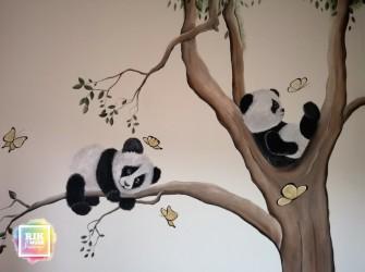 Muurschildering-panda-beertjes-5