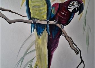 Muurschildering-papegaaien