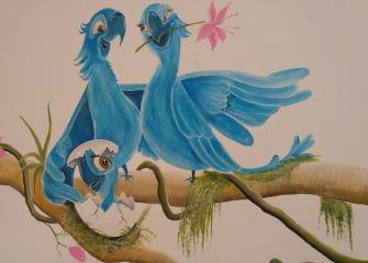 Muurschildering-vogels-Rio-4