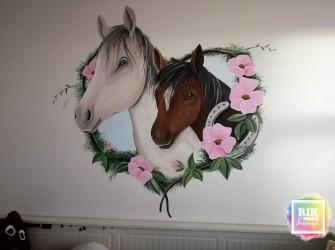 muurschildering-paarden