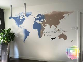 Muurschildering-Landkaart
