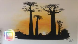 Muurschildering-Zonsondergang