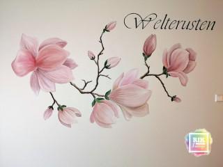 Muurschildering-magnolia-tak