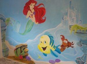 muurschildering De kleine zeemeermin