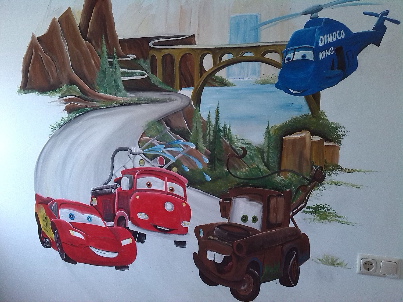 Cars muurschildering