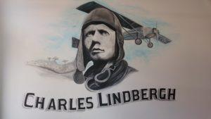 Muurschildering Charles Lindbergh