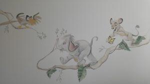 muurschilderin Olifantje simba