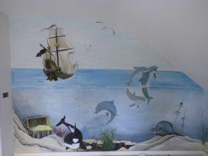 muurschildering onder water