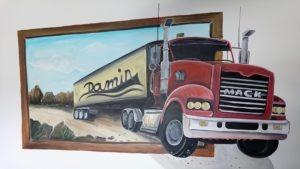 3D muurschildering Vrachtauto