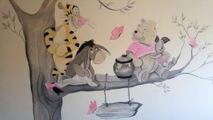 muurschildering Winnie de pooh