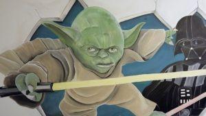Muurschildering Yoda