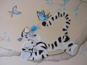 Muurschildering tijgertje