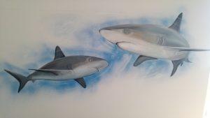 Muurschildering Eindhoven - haaien orka