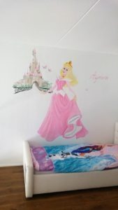 Muurschildering prinses kasteel
