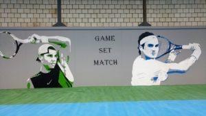 Muurschildering Tennis
