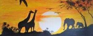 muurschildering Zonsondergang Jungle
