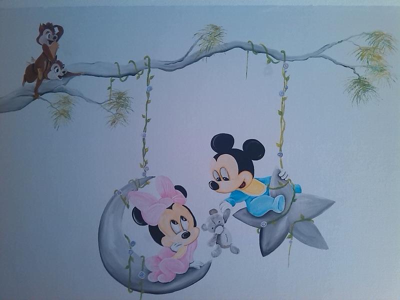 Rik Muurschilderingen - Muurschildering Mickey en Minnie Baby