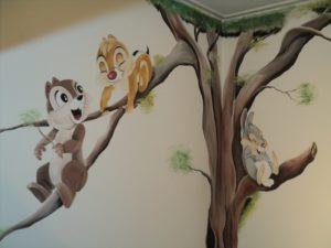 Muurschildering Knabbel en Babbel