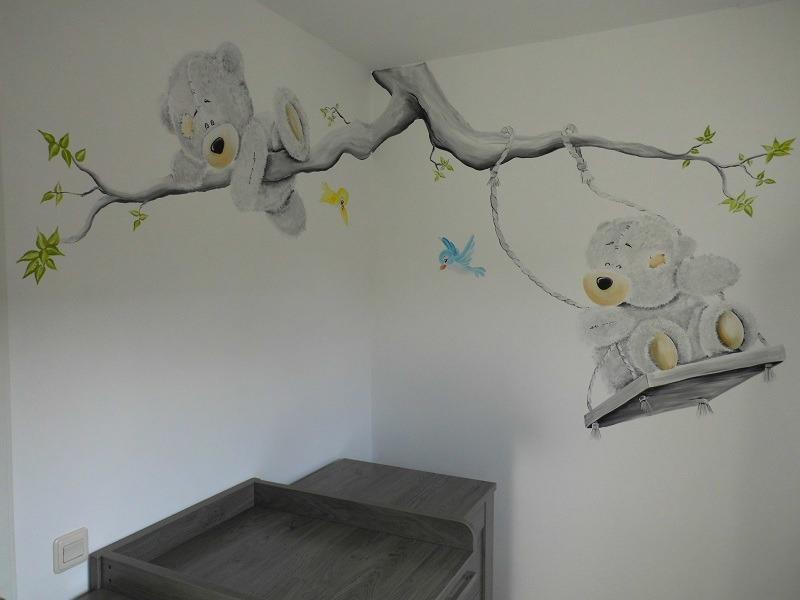 Muurschildering babykamer me to you for - Muurschildering grijs ...