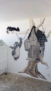 Muurschildering Boomhut