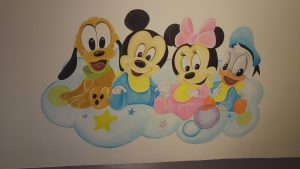 Muurschildering Disney structuurverf muren