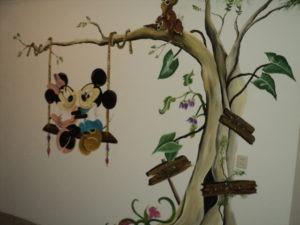 Muurschildering op spachtelputz muur