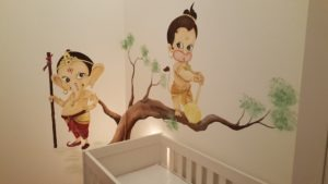 Muurschildering Ganesha