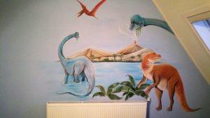 Muurschildering Nijmegen - Dinosaurussen