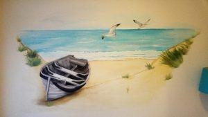muurschildering strand zee