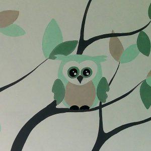 Muurschildering Uilen