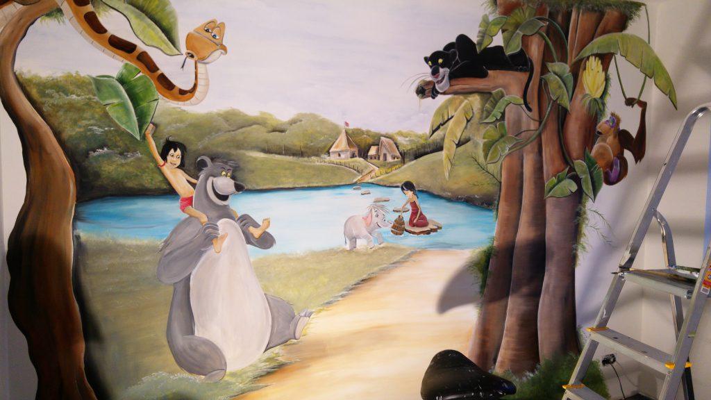 Muurschildering kinderkamer junglebook door Rik Muurschilderingen
