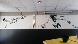 muurschildering voetbal popart