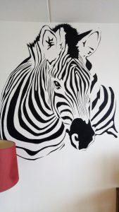 Muurschildering Zebra