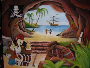 Muurschildering piraten