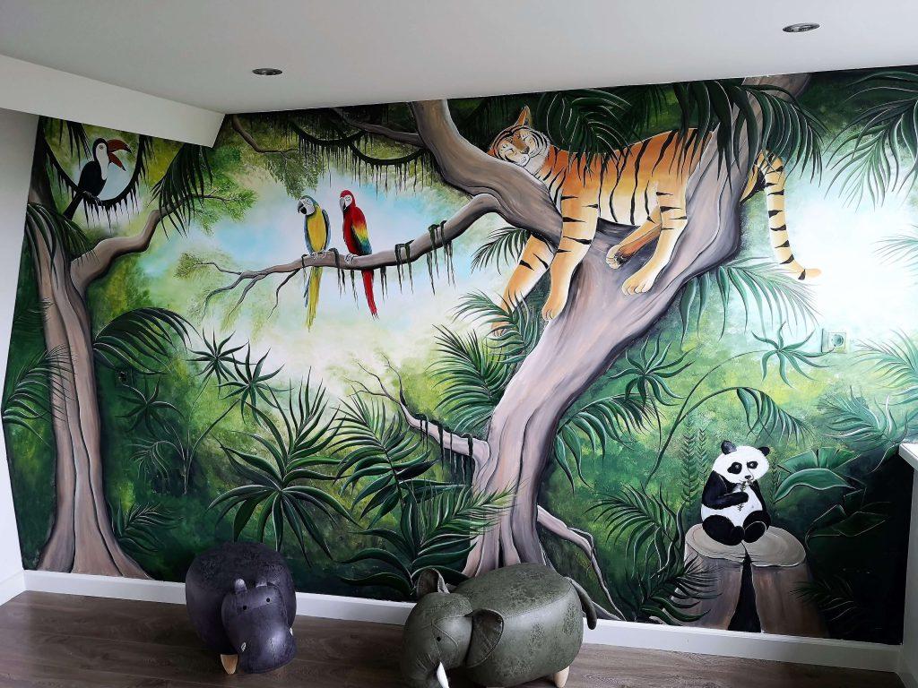 Muurschildering jungle kinderkamer door Rik Muurschilderingen